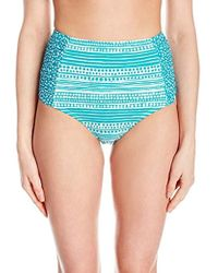 Jones New York - Dotted Stripe High Waist Side-shirred Bikini Bottom - Lyst