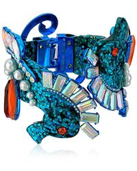 Betsey Johnson - Crabby Couture Blue Glitter Seahorse Hinge Cuff Bracelet, One Size - Lyst