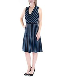 Anne Klein - Vneck Fit And Flare Sweater Dress - Lyst