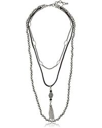 "Lucky Brand - Bone Leather Layer Necklace, 20"" + 2"" Extender - Lyst"