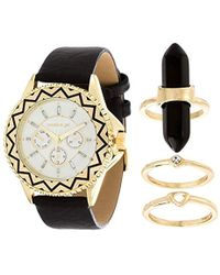 Steve Madden - Japanese-quartz Watch With Leather-synthetic Strap, Black, 19 (model: Smgs009g-bk) - Lyst