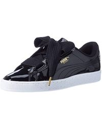 d833b5b028fa PUMA Basket Heart Patent Wn s Sneakers With Bow in Black - Lyst