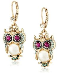 "Betsey Johnson - ""pearl Critters"" Owl Drop Earrings - Lyst"