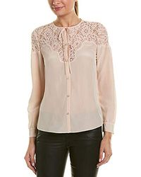 ef1258896f11c Lyst - IRO Oltane Sheer Dot-Print Silk Blouse in Natural