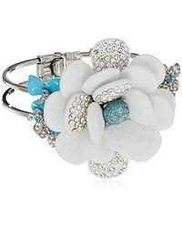Betsey Johnson - Blue La La Large Pave Flower Hinged Bangle Cuff Bracelet - Lyst