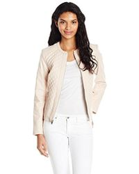 Cole Haan - Jewel Neck Quilted Leather Jacket - Lyst