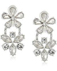 Anne Klein - Silver Tone Double Flower Drop Earrings - Lyst