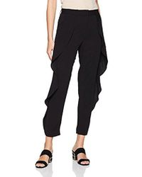 Halston - Tapered Ruffle Detail Pants - Lyst