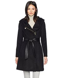 Cole Haan - Belted Asymmetrical Wool Coat With Oversized Hood - Lyst
