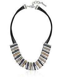 """Nine West - Tri-tone And Crystal 16"""" Frontal Necklace - Lyst"""