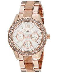 Fossil - Es3721 Stella Multifunction Rose Gold-tone Stainless Steel And Leather Watch - Lyst