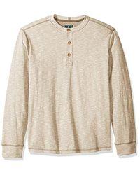 G.H. Bass & Co. - . Textured Striped Long Sleeve Crew Neck Shirt - Lyst
