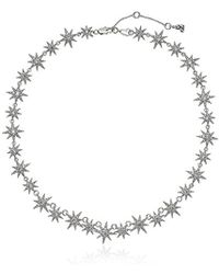 Betsey Johnson - S Blue By Silver Tone Star Collar Necklace With Pave Crystal Accents - Lyst
