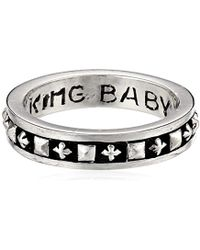 King Baby Studio - Stackable Studded Ring With Mb Crosses - Lyst