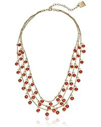 Anne Klein - Beacon Gold-tone Red Shaky Drop Necklace - Lyst