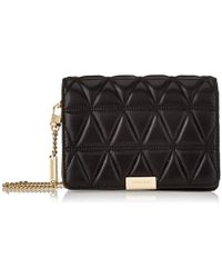 7d8c3557bd3b0d Michael Kors - Michael By Jade Black Quilted Medium Leather Clutch Bag -  Lyst