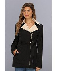 Vince Camuto - Asymmetric Front-zip Coat With Contrast Collar - Lyst