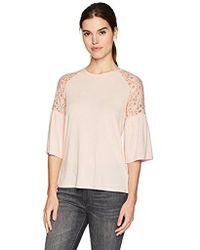 Adrianna Papell - Crew Neck Lace Detail With Bell Sleeve - Lyst
