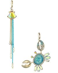 Betsey Johnson - S Crab And Seashell Mismatch Earrings - Lyst