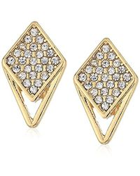 Laundry by Shelli Segal - Pave Triangle Clip On Earrings, Crystal/gold - Lyst