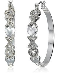 Guess - S Hoop Earrings With Hearts Detail On Front - Lyst