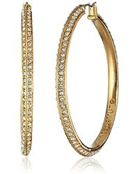Vince Camuto - Gold And Crystal Hoop Earrings - Lyst