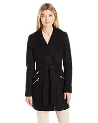 Guess - Wool Boucle Coat With Oversized Color And Belt - Lyst