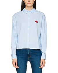 df649b21671ca Tommy Hilfiger Bright Stripe Peplum T-shirt in Blue - Lyst