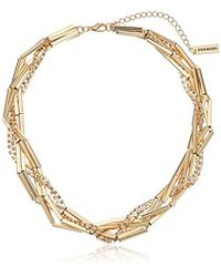 Steve Madden - Tube Chain And Crystal Braided Necklace - Lyst