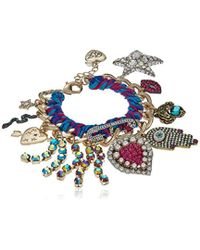 Betsey Johnson - Mystic Baroque Queens Gold And Woven Statement Charm Bracelet - Lyst