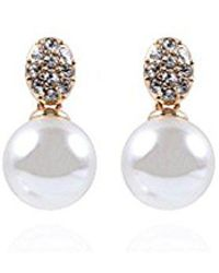 Anne Klein - Classics Gold Tone Pearl Post Drop Earring, One Size - Lyst