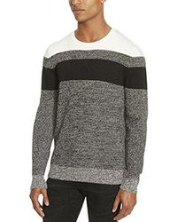 Kenneth Cole Reaction - Colorblock Striped Marled Crew Neck Sweater - Lyst
