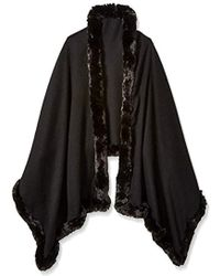 Badgley Mischka - Large Woven Wrap With Faux Chinchilla Trim - Lyst