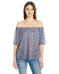 Velvet By Graham & Spencer - Printed Cotton Off The Shoulder Blouse - Lyst
