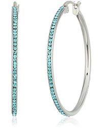 Kenneth Cole - Silver Tone 35mm Hoop Earrings With Aqua Stones, One Size - Lyst