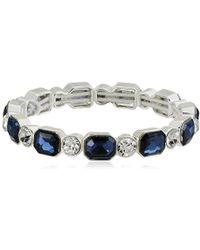 Anne Klein - Silver-tone Blue Stretch Bracelet - Lyst