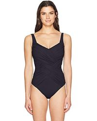 45dc42e4edec8 Gottex Draped Panel Square Neck One Piece Swimsuit in Black - Lyst