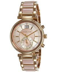 f36286613cbc Lyst - Michael Kors Women s Chronograph Sawyer Rose Gold-tone ...