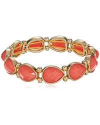Nine West - Gold-tone And Coral Stretch Bracelet - Lyst