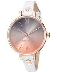 Nine West - Nw/2124rgwt Rose Gold-tone And White Strap Watch - Lyst
