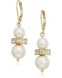 Anne Klein - Gold Tone Leverback Drop Earrings - Lyst
