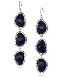 T Tahari - Mystic Sands Navy Crystal Stone Drop Linear Earrings, Silver, One Size - Lyst