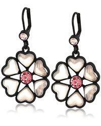 """Betsey Johnson - """"memoirs Of Betsey"""" Heart Petal Flower Drop Earrings - Lyst"""