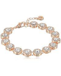 Anne Klein - Classics Rose Gold Round Pave Flex Bracelet, One Size - Lyst