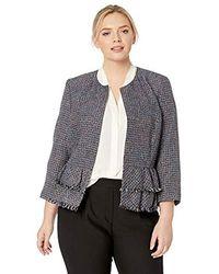 Nine West - Plus Size Jewel Neck Tweed Jacket With Bottom Ruffle Detail - Lyst