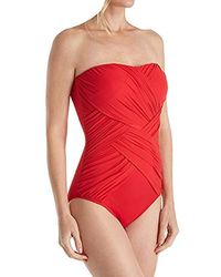 Gottex - Draped Panel Bandeau One Piece Swimsuit - Lyst