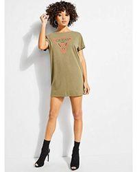 Guess - Short Sleeve Line Tri Longline T-shirt - Lyst