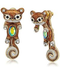 Betsey Johnson - S Brown And Gold Squirrel Front Back Earrings - Lyst