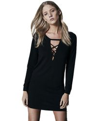 Lanston - Lace Up Sweatshirt Dress In Black - Lyst