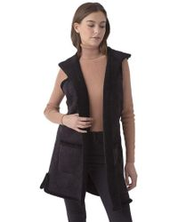 525 America - Faux Shearling Long Hooded Vest In Black - Lyst